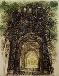 Small Alhambra - XX Century, Architecture Etching Print, Landscape, Fantasy