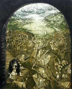 Labirynth of dreams - XX Century, Figurative Etching Print, Landscape, Animal