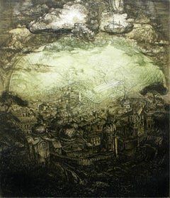 Vision of Atlantis - XX Century, Architecture Etching Print, Landscape, Fantasy