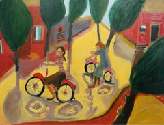 Girls on bikes - XXI century, Contemporary Oil & Acrylic Painting, Bright Colors