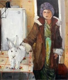 My friend, bunny - XXI Century, Contemporary Figurative Oil Painting, Interior