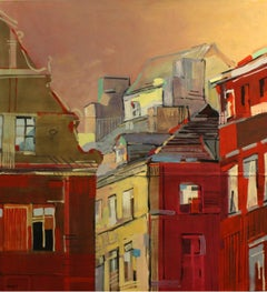 Warsaw, tenement houses - XXI Century, Contemporary Oil Painting, Architecture