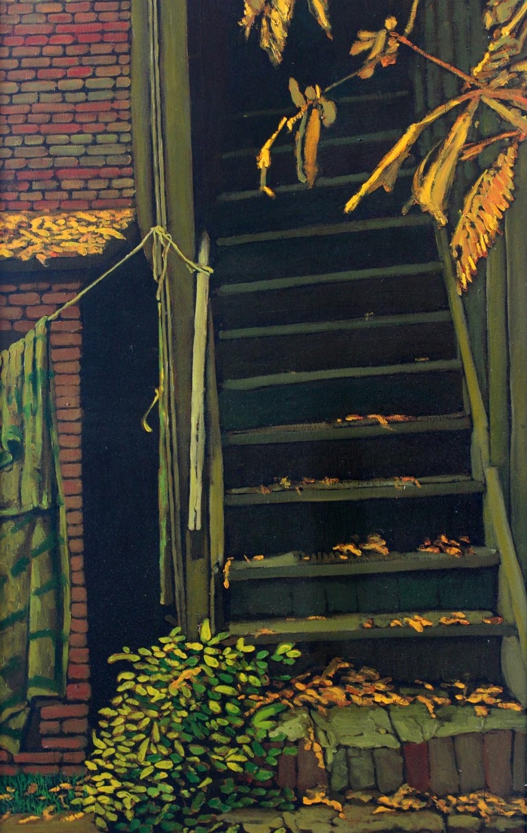 The stairs - XXI Century, Contemporary Oil Painting, Collage, Warm Tones - Brown Figurative Painting by Jacek Rykala