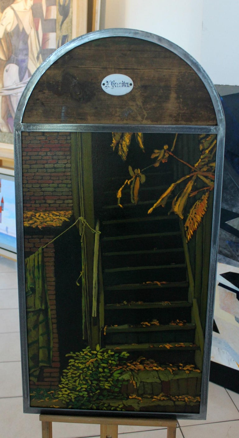 The stairs - XXI Century, Contemporary Oil Painting, Collage, Warm Tones For Sale 1