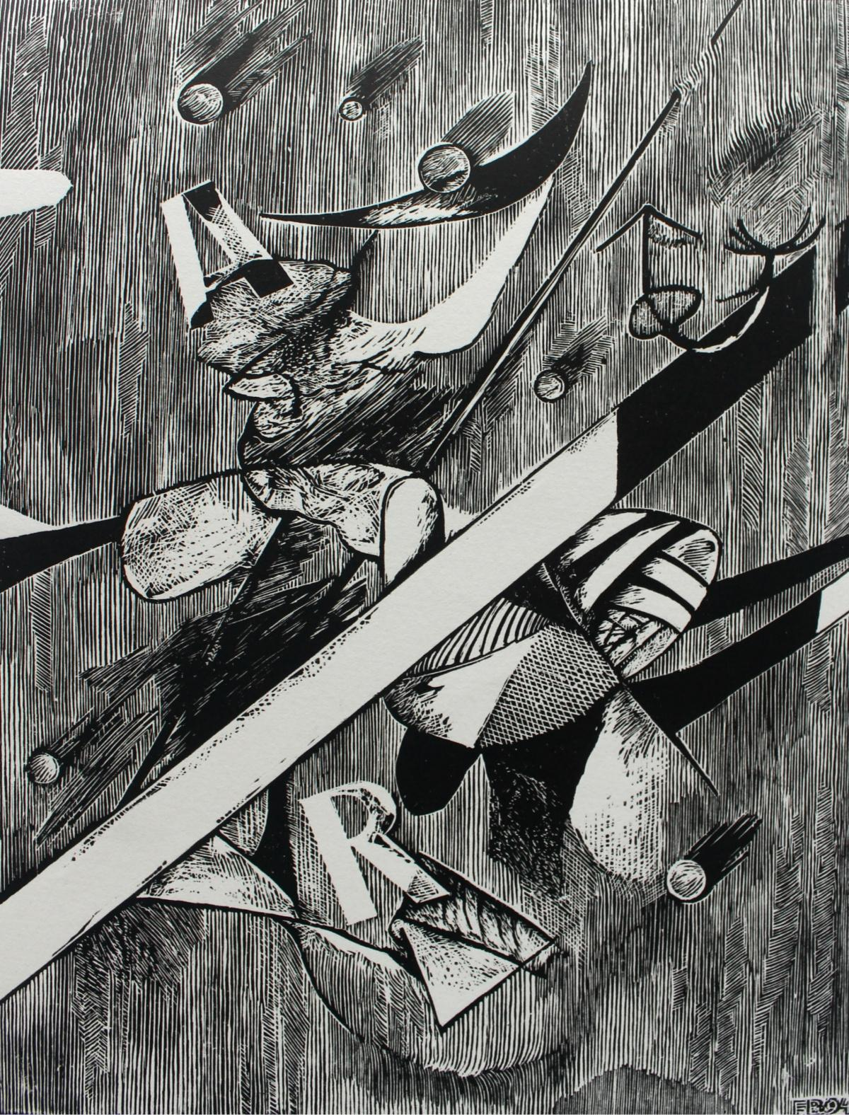 Between Sun and Moon - XX century, Black & White Woodcut Print, Abstraction