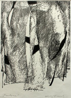 Curtain - XX century, Contemporary Black & White Linocut Print