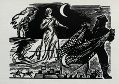 Switez (Adam Mickiewicz) - XX century, Black & White Woodcut Print, Figurative