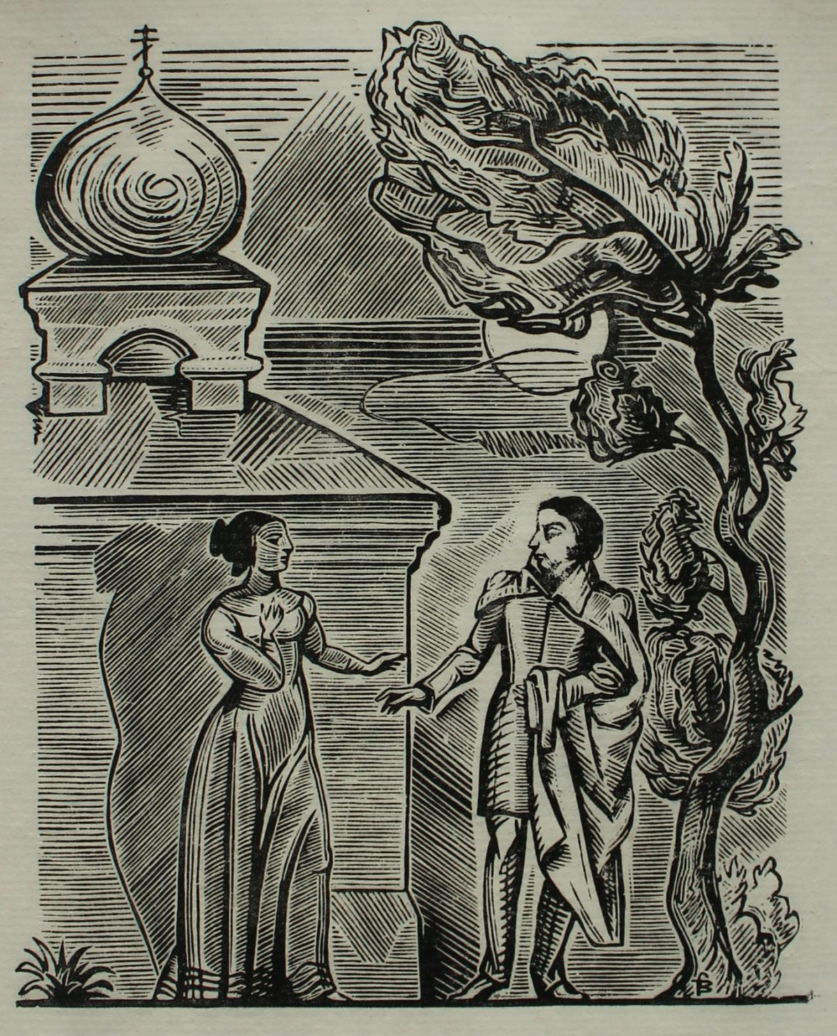 I like it (Adam Mickiewicz) - XX century Black & White Woodcut Print, Figurative