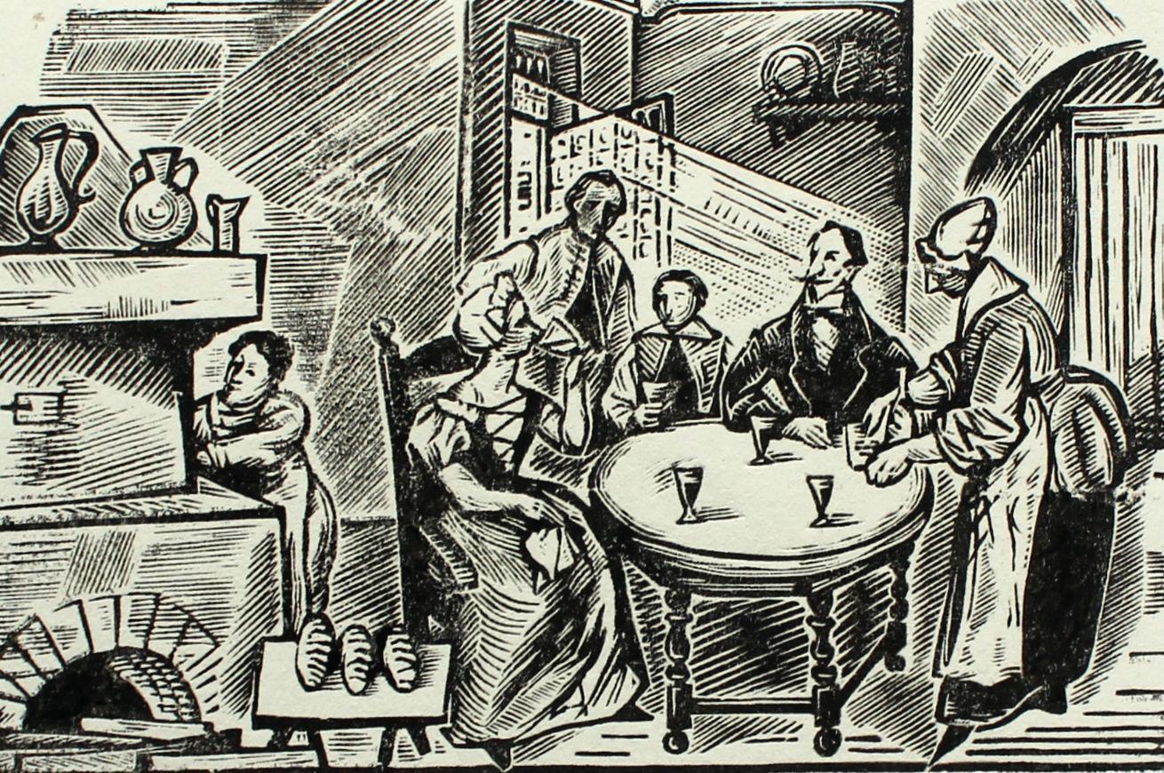 Lord on the Sand Castle - XX century Black & White Woodcut Print