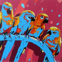 Parrots 01 - XXI Century, Oil Figurative Painting, Bright Colors, Pop Art