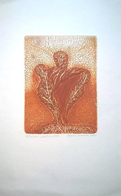 Similar to birds - XX Century, Abstract Etching Print, Organic Shapes