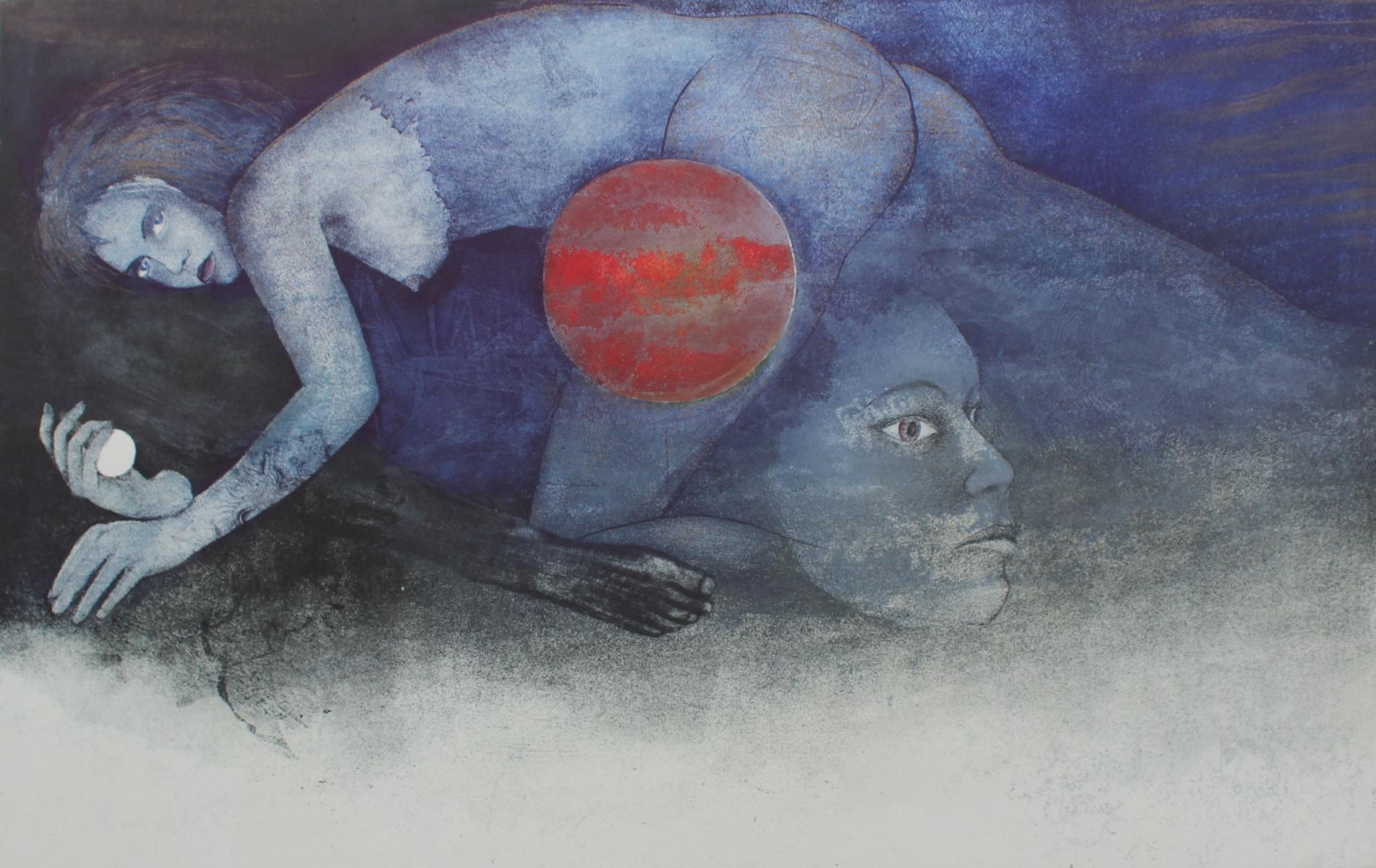 Demon, rising sun - XX century, Mixed media print, Figurative, Nude
