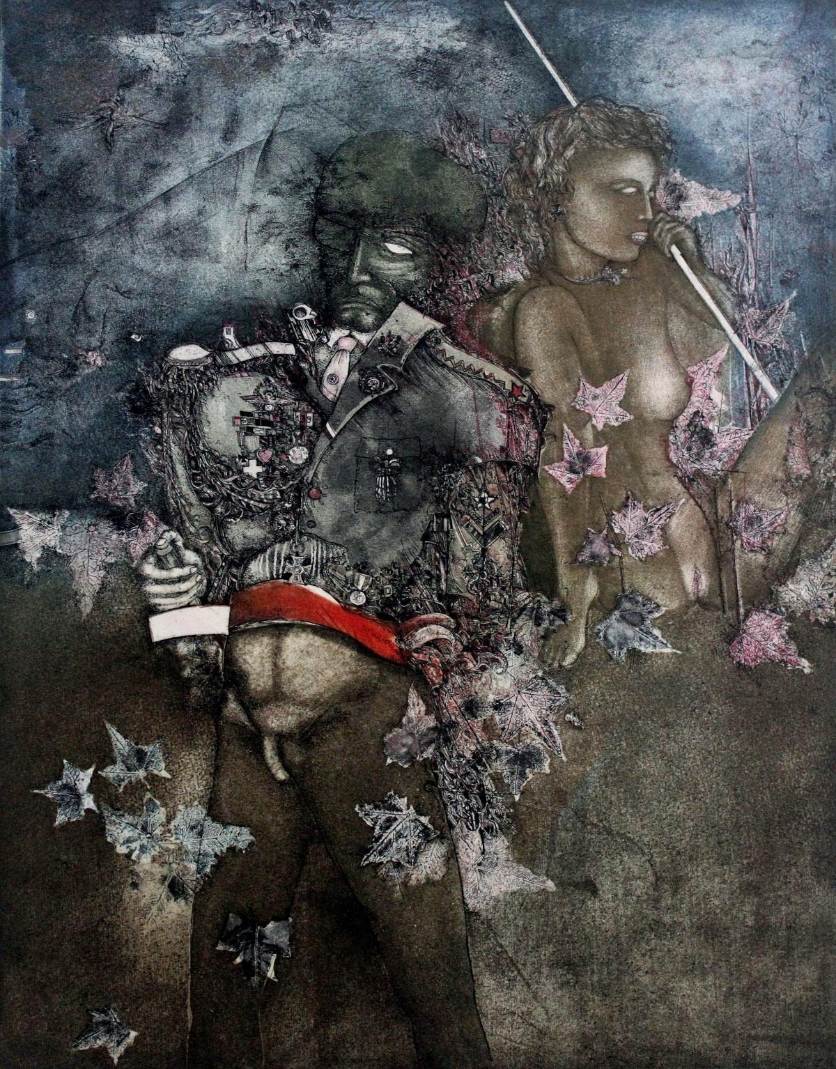 The Autumn - XX century, Mixed media print, Figurative, Nude, Muted Colors