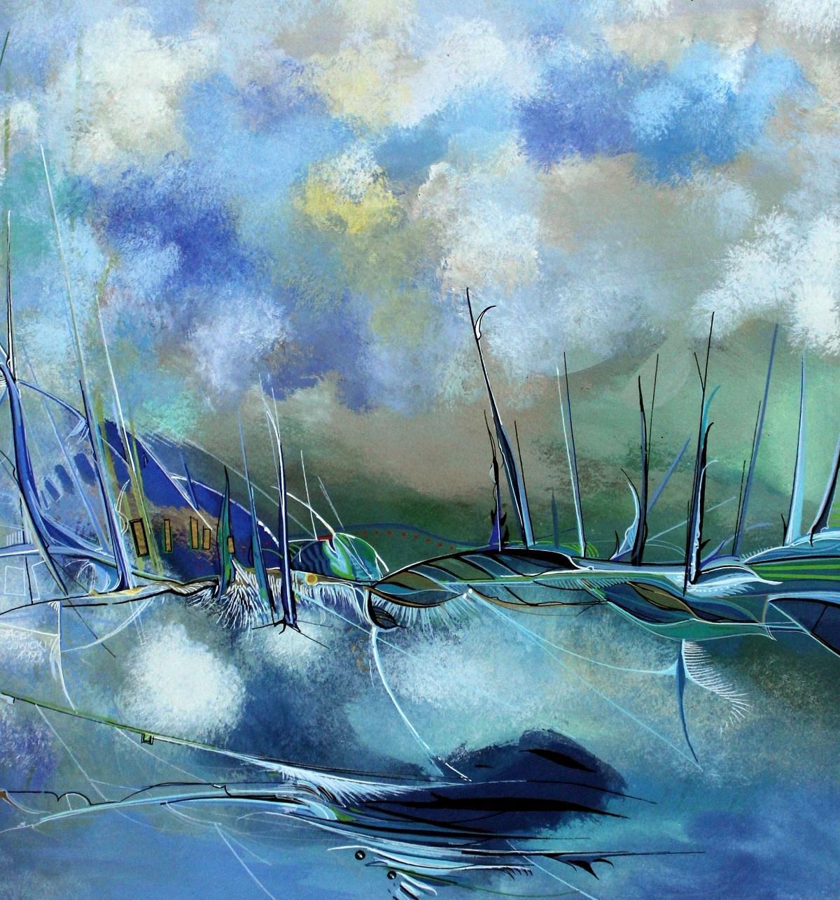 A Postcard - XXI century, Contemporary Gouache Painting, Abstraction, Landscape