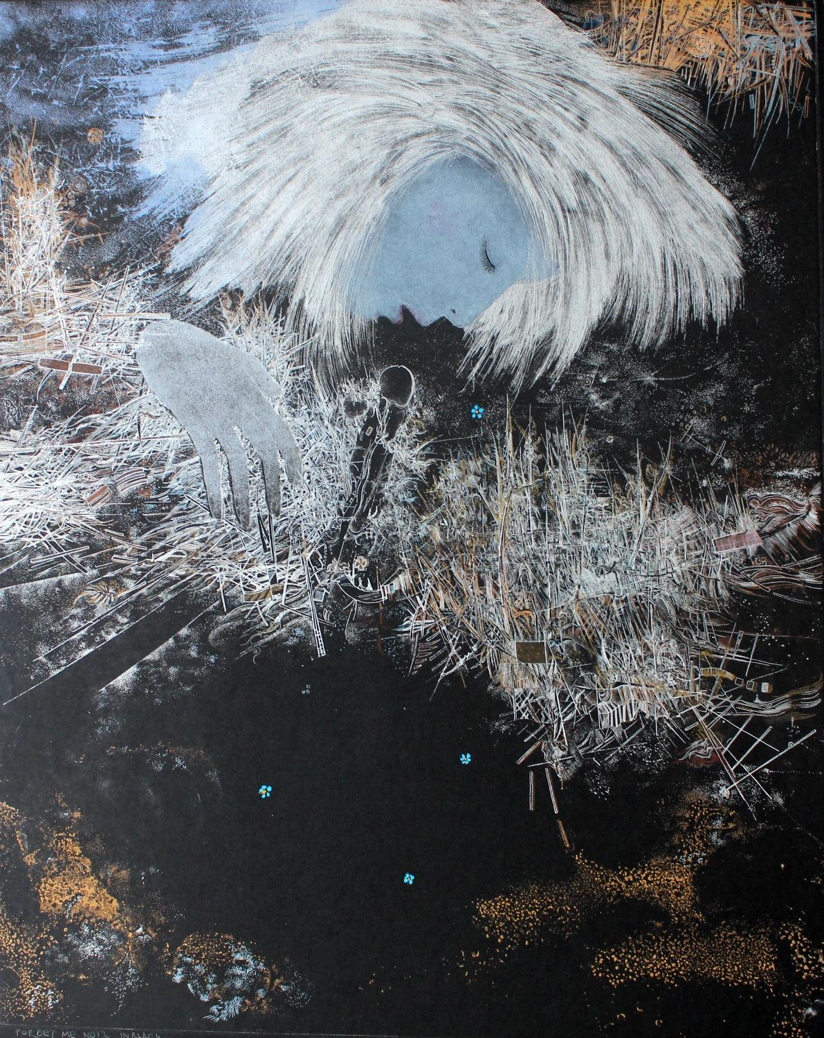 Forget me nots - XX century, Mixed media print, Figurative, Portrait, Abstract