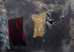 The better curtain - XX century, Mixed media print, Abstract, Black Red & Yellow