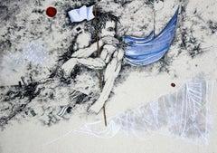 White flag - XXI century, Contemporary mixed media print, Figurative