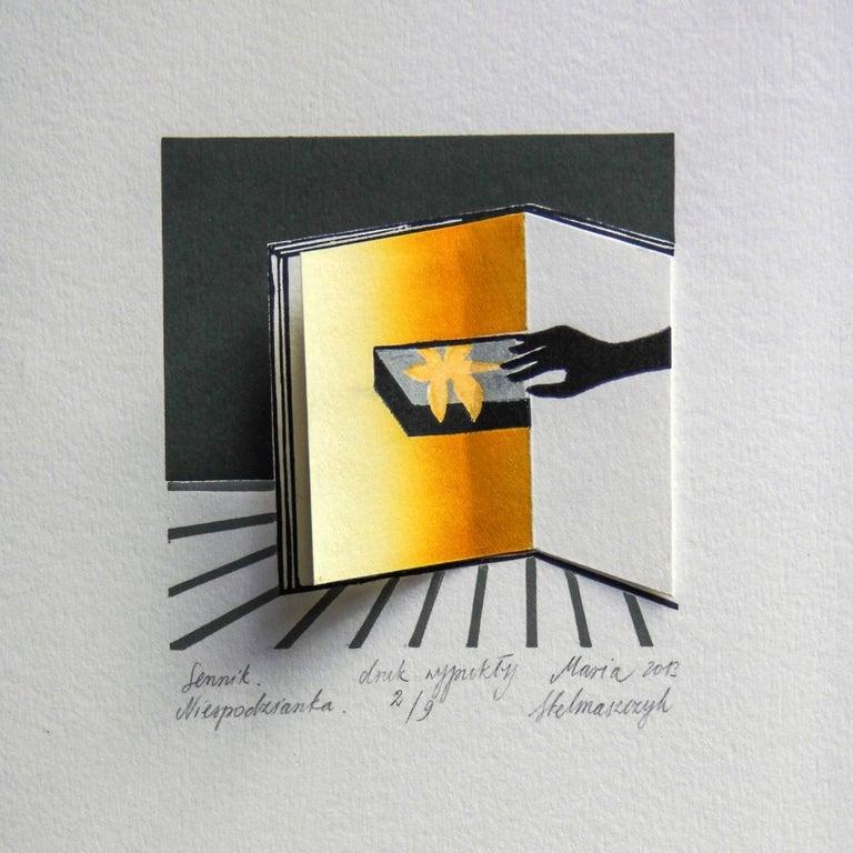 Maria Stelmaszczyk Abstract Print - Dream book. A surprise - XXI Century, Contemporary 3D Linocut & Woodcut Print
