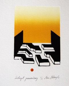 Orange labirynth - XXI Century, Contemporary Linocut & Woodcut Print, Abstract