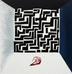 Labirynth - XXI Century, Contemporary Linocut & Woodcut Print, Abstract