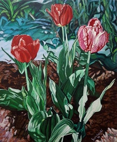 Tulips - XX Century, Realistic Figurative Floral Oil Painting, Bright Colors