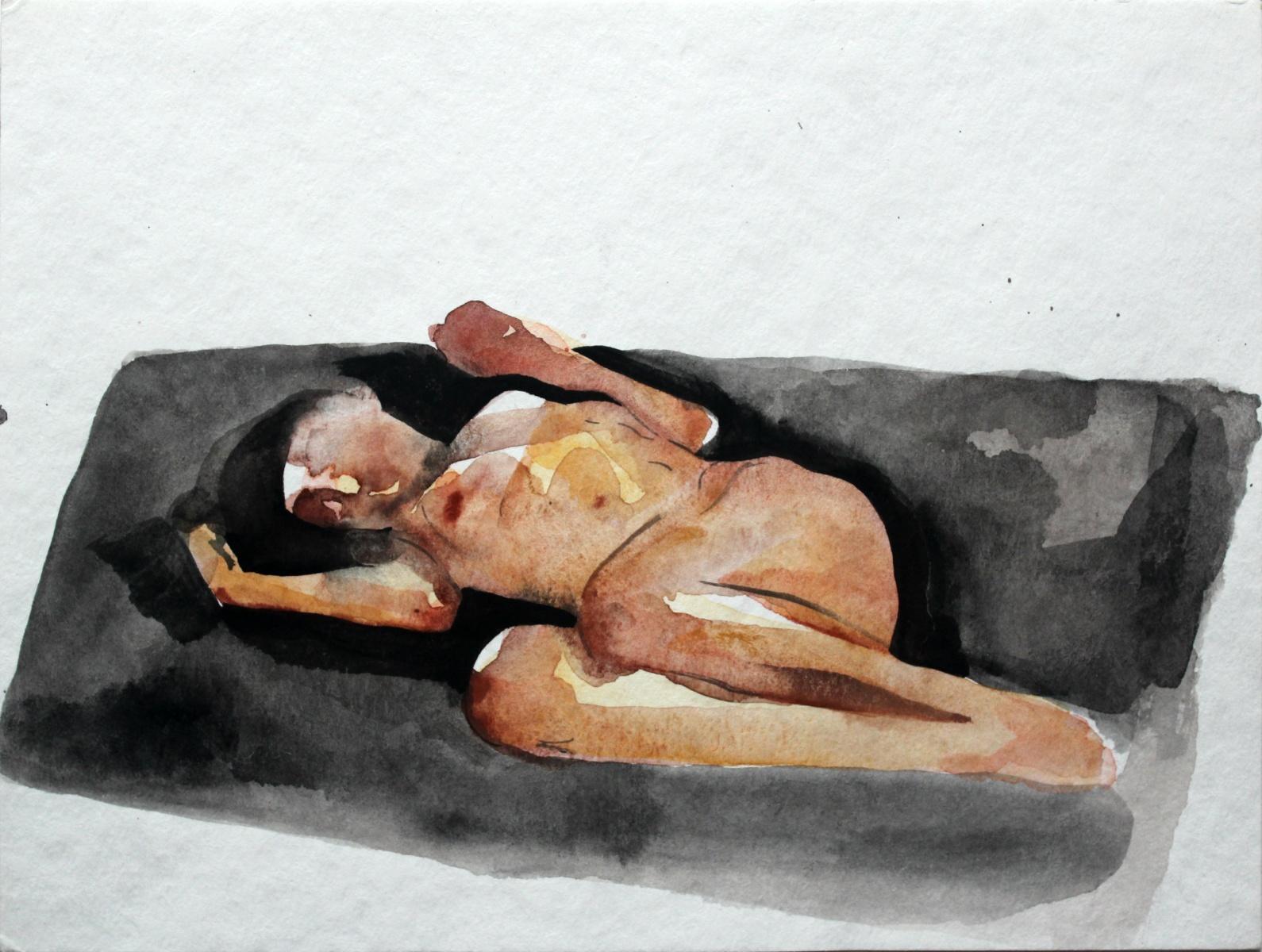 Nude - XXI Century, Contemporary Figurative Nude Watercolor Painting