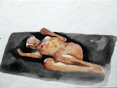 Nude - XXI Century, Contemporary Figurative Nude Watercolor Painting