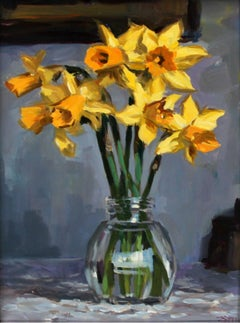 Narcissis - XXI Century, Contemporary Still Life Oil Painting, Realism, Floral