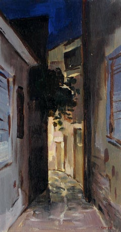 Ermoupoli at night - XXI Century, Contemporary Landscape Oil Painting, Realism