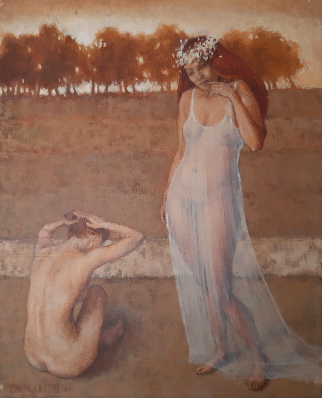 A Wedding  - XXI Century, Contemporary Figurative Oil Painting, Nude