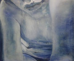 Stay - XXI century, Contemporary Figurative Oil painting, Cold Tones, Blue
