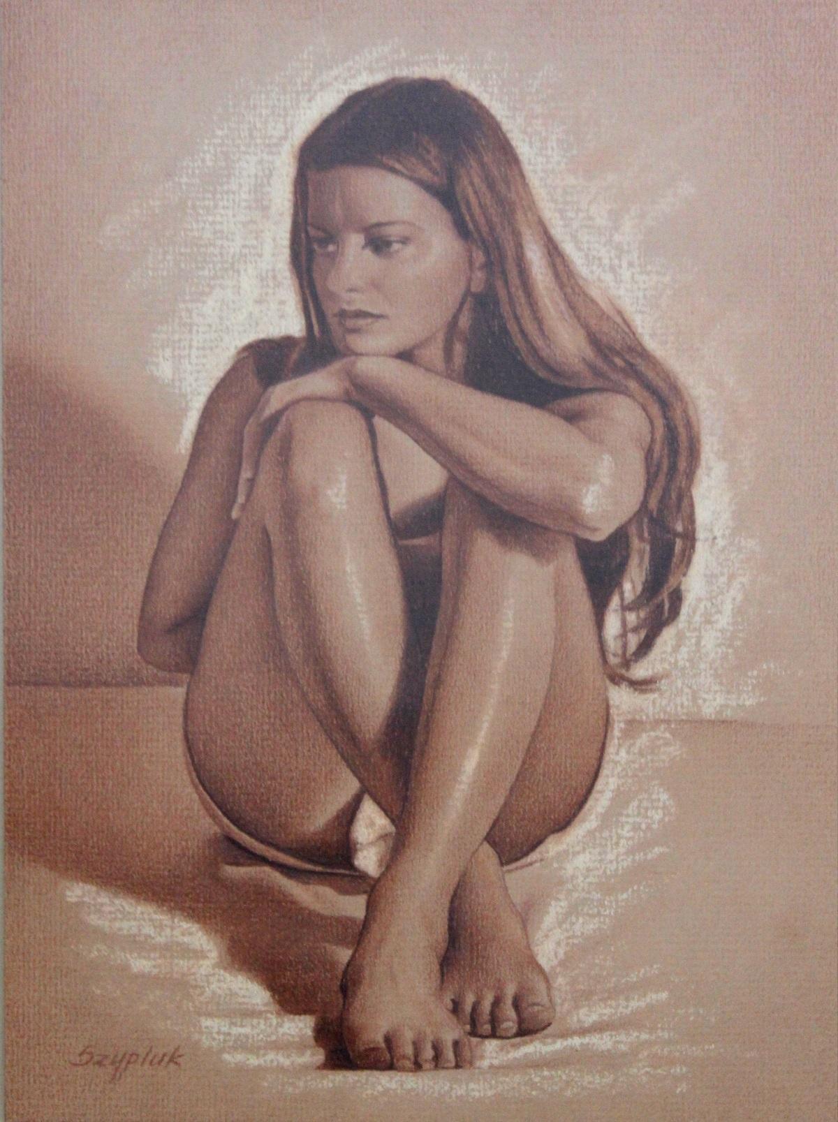 A girl II - XXI century, Contemporary Realistic Figurative Mixed Media Drawing
