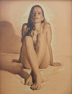 Nude - XXI century, Contemporary Realistic Figurative Mixed Media Drawing