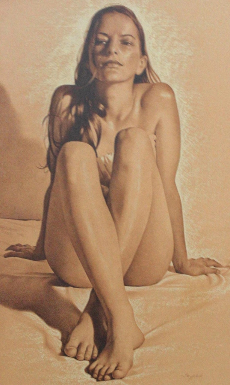 Nude - XXI century, Contemporary Realistic Figurative Mixed Media Drawing   - Brown Figurative Art by Andrzej Szypluk