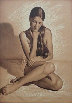 Nude - XXI century, Contemporary Realistic Figurative Mixed Media Drawing