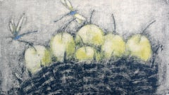 Yellow apples - XXI Century, Contemporary Still life Monotype Print, Figurative