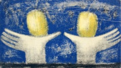 Still life with hands and apples - XXI Century, Figurative Monotype Print