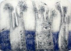 Landscape with trees - XXI Century, Figurative Monotype Print, Surreal