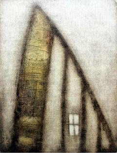 A window - XXI Century, Contemporary Abstract Monotype Print, Monochromatic
