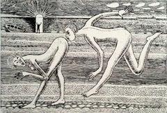 Admirer - XXI Century, Contemporary Figurative Etching Print, Nude, Satirical