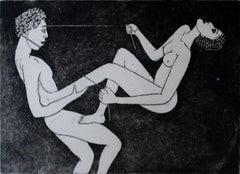 Climbing - XXI Century, Contemporary Figurative Etching Print, Nude