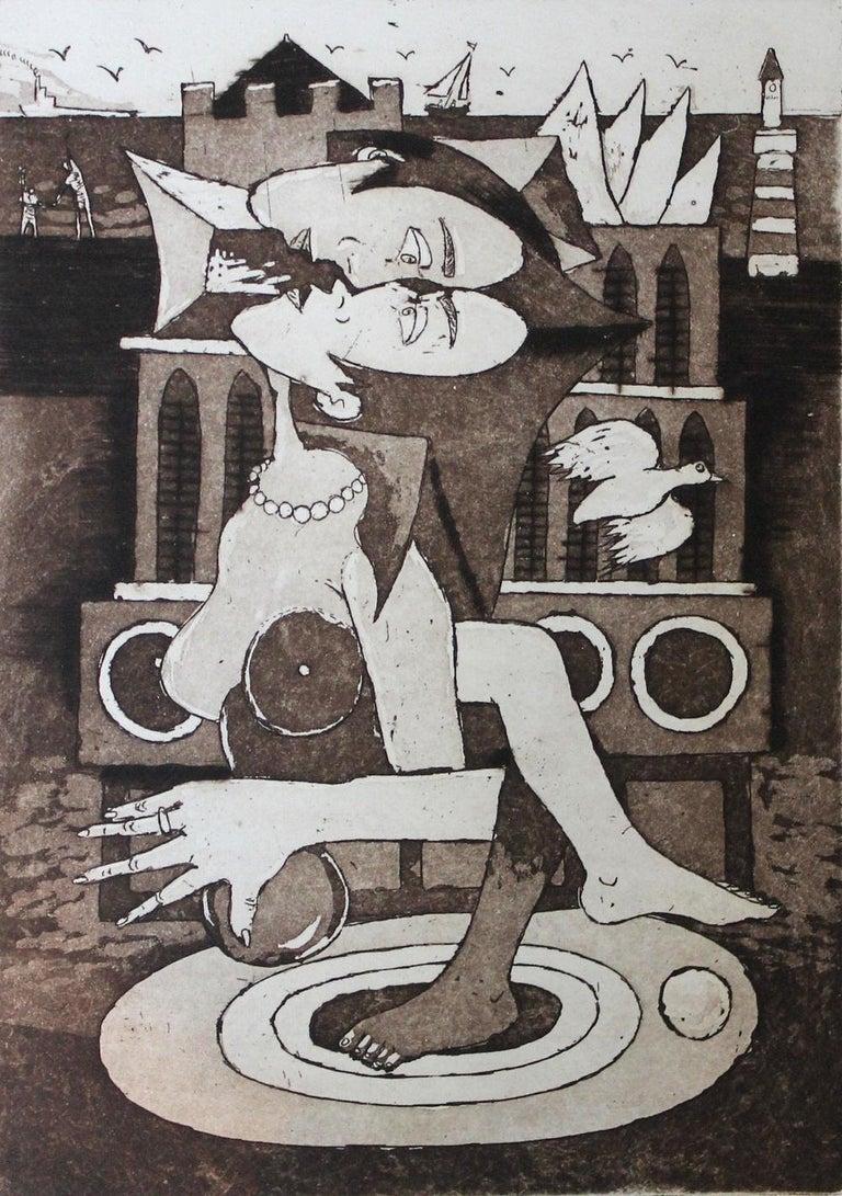 Czeslaw Tumielewicz Figurative Print - Gothic kiss - XXI Century, Contemporary Figurative Etching Print, Nude