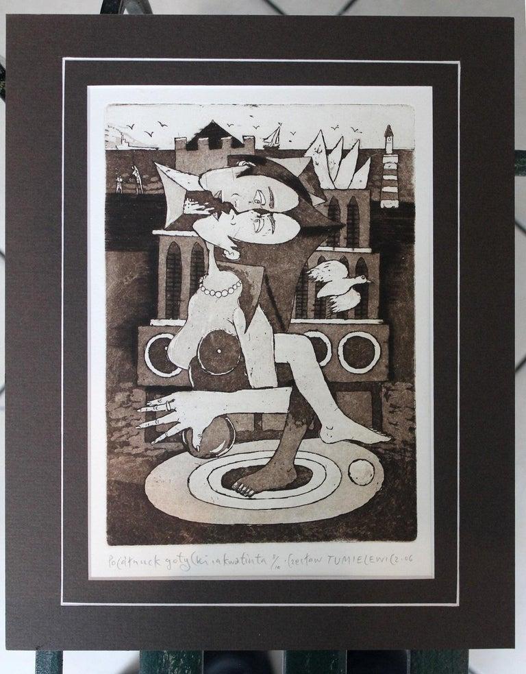 Gothic kiss - XXI Century, Contemporary Figurative Etching Print, Nude - Black Figurative Print by Czeslaw Tumielewicz