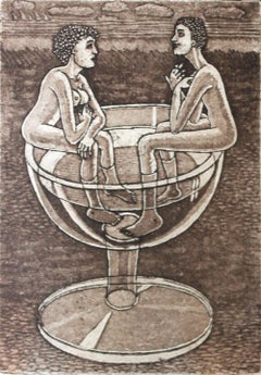 Rendez-vous - XXI Century, Contemporary Figurative Etching Print, Nude