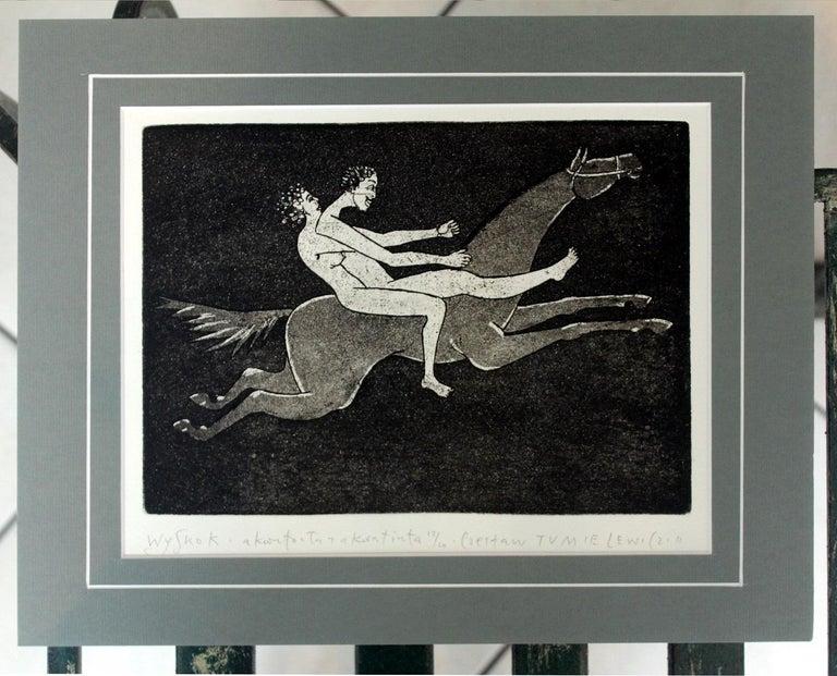 Jump - XXI Century, Contemporary Figurative Etching Print, Nude, Horse - Black Figurative Print by Czeslaw Tumielewicz