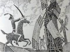 Don Kichot and windmills - XXI Century, Contemporary Figurative Etching Print