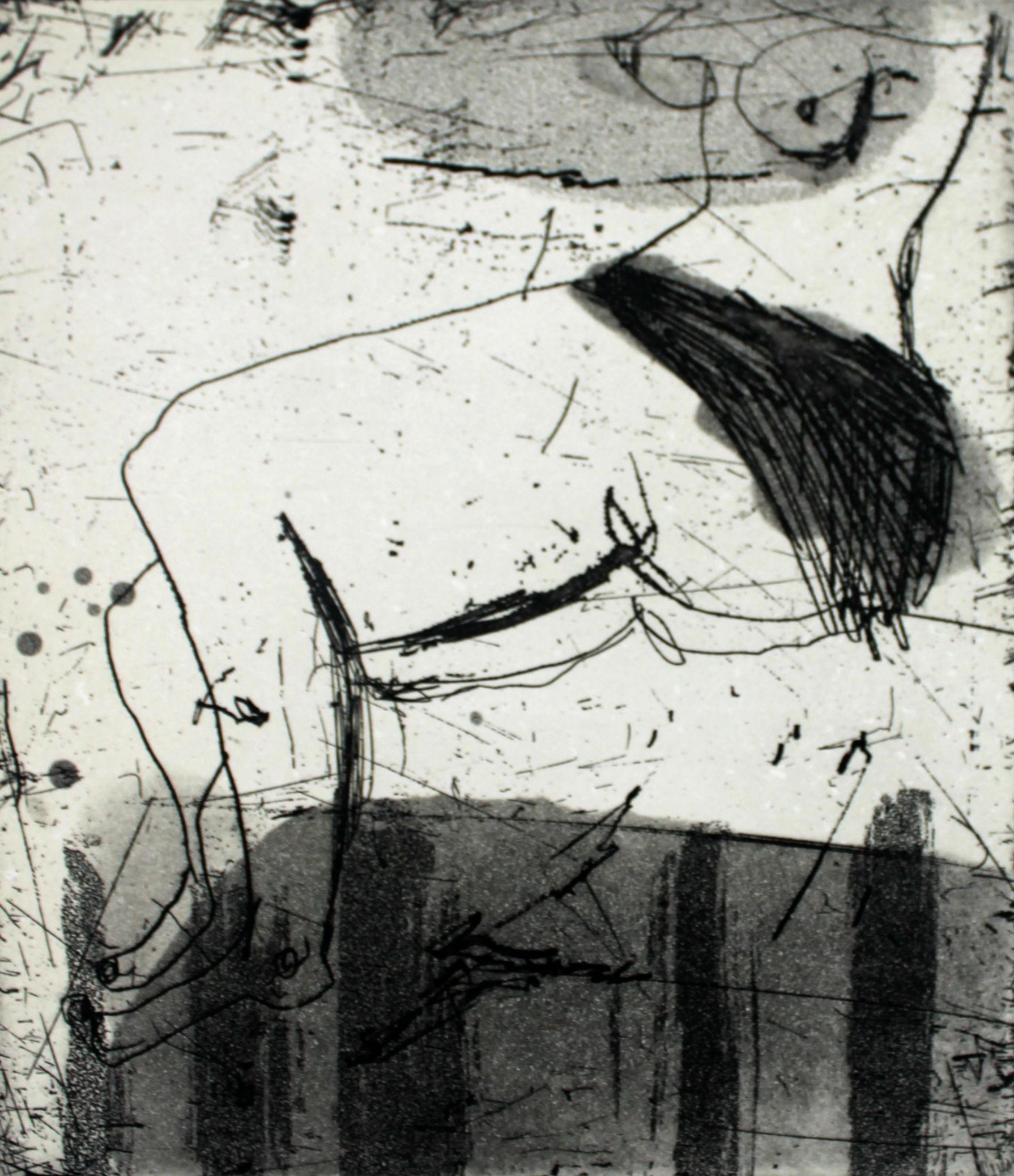 Nude IX - XXI Century, Contemporary Figurative Aquatint Etching Print