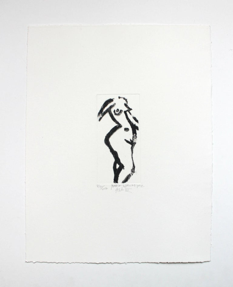 Nude XII - XXI Century, Contemporary Figurative Drypoint Etching Print - Gray Figurative Print by Marta Wakula-Mac