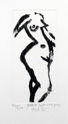 Nude XII - XXI Century, Contemporary Figurative Drypoint Etching Print