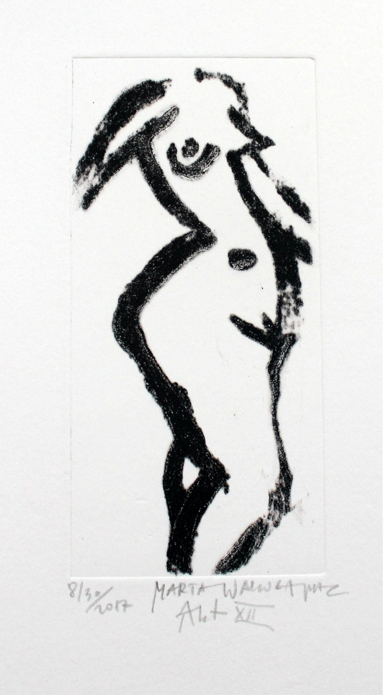 Marta Wakula-Mac Figurative Print - Nude XII - XXI Century, Contemporary Figurative Drypoint Etching Print